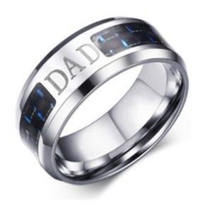 """Other - Engraved """"Dad"""" Stainless Steel Ring (11)"""